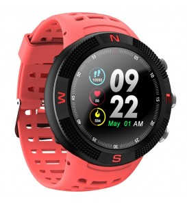 Smartwatch F18 waterproof IP68 bluetooth GPS compatibile Android e iOS rosso