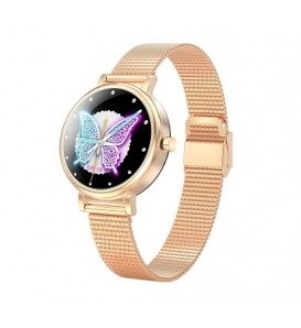 Smartwatch donna LW06 waterproof ip68 bluetooth notifiche per android e ios gold