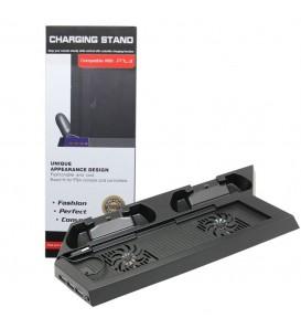 PS4 Vertical Stand con dock di ricarica per controller wireless + ventola di raffreddamento + 3 porte USB