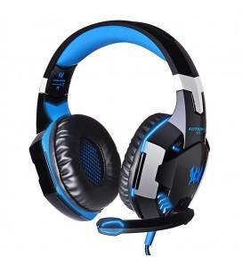 Cuffia gaming stereo bassi profondi Led computer TV giochi blu