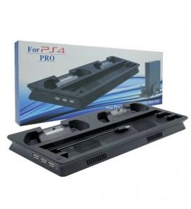 PS4 Pro Vertical Stand con dock di ricarica per controller wireless + ventola di raffreddamento + 3 porte USB