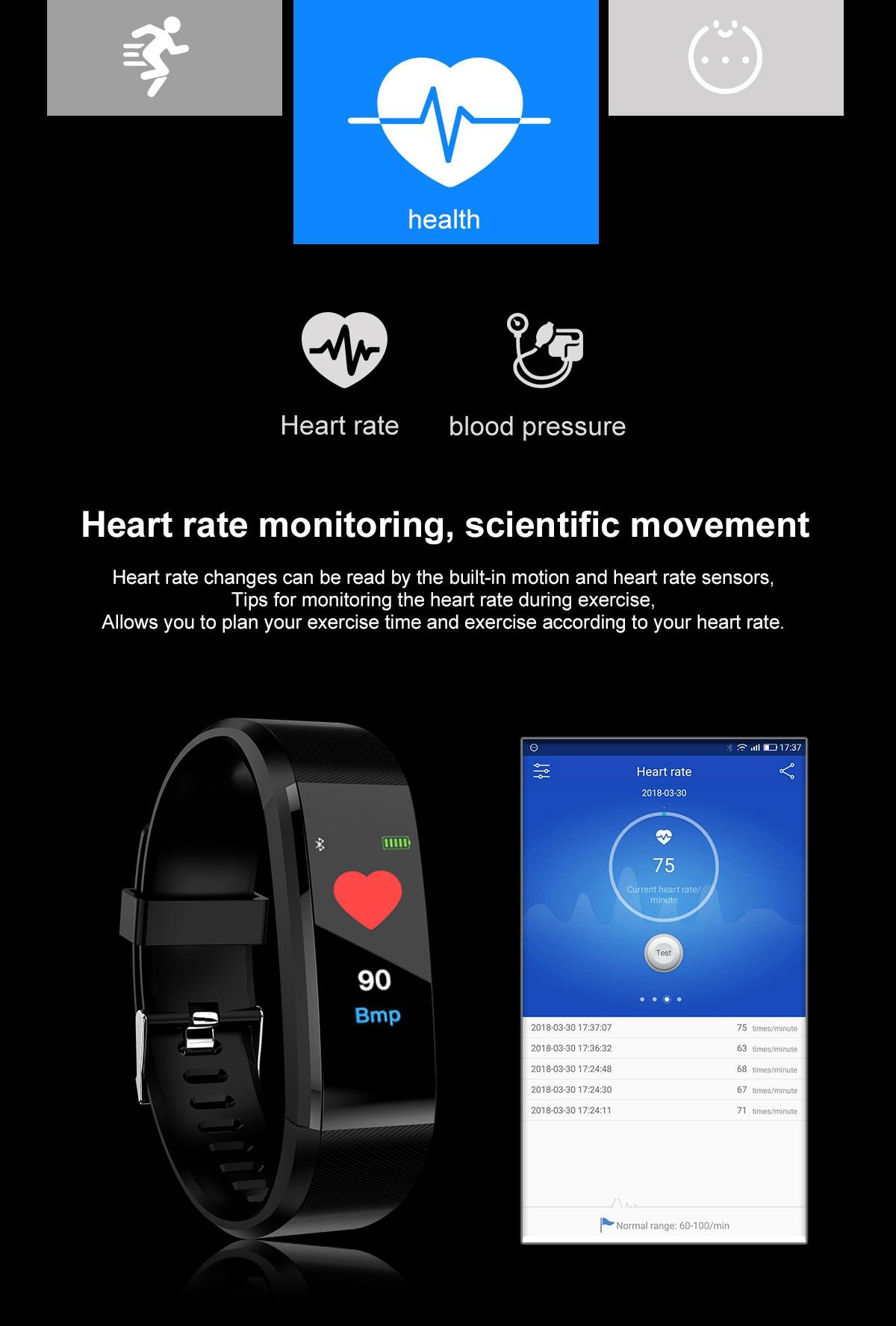 Smart band ID115 Plus Smart Bracelet Fitness Tracker Watches